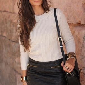 ZARA Off-White Angora Ribbed Sweater